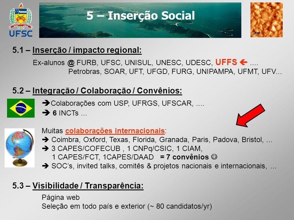 5 – Inserção Social 5.1 – Inserção / impacto regional: