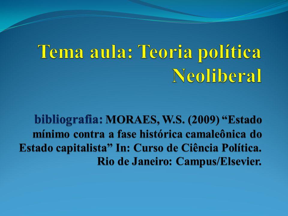 Tema aula: Teoria política Neoliberal bibliografia: MORAES, W. S