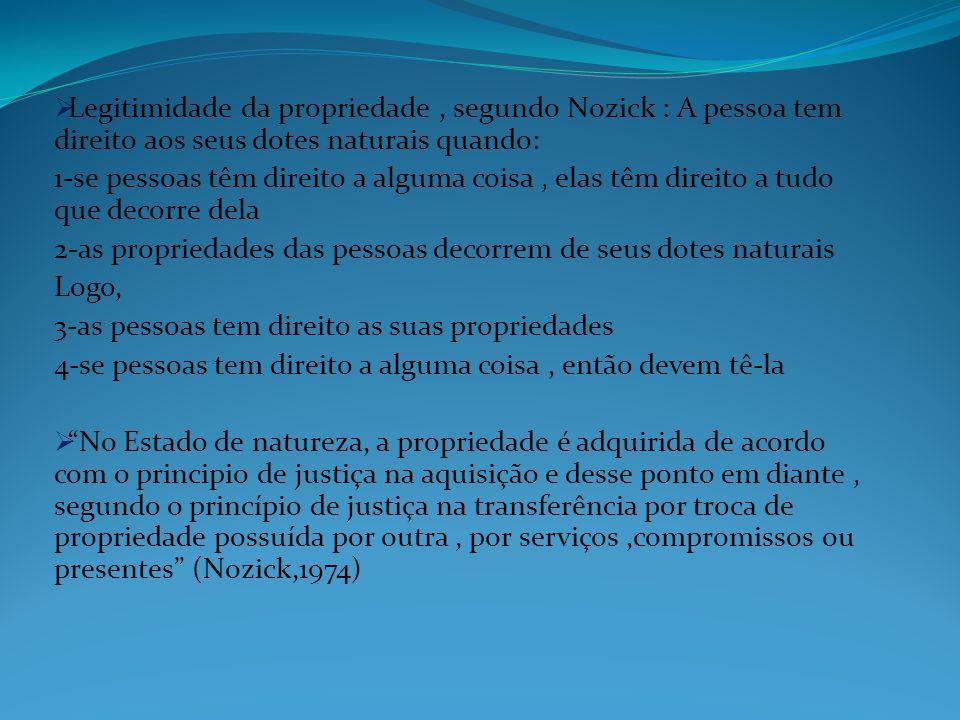 Legitimidade da propriedade , segundo Nozick : A pessoa tem direito aos seus dotes naturais quando: