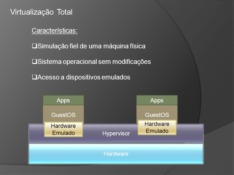 Virtualização Total Características: