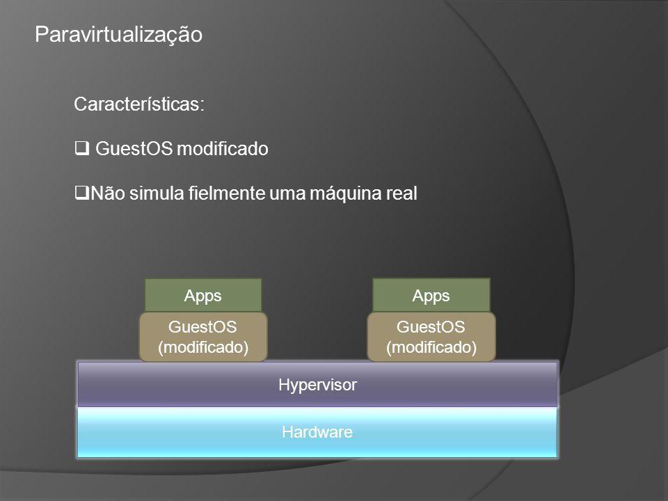 Paravirtualização Características: GuestOS modificado
