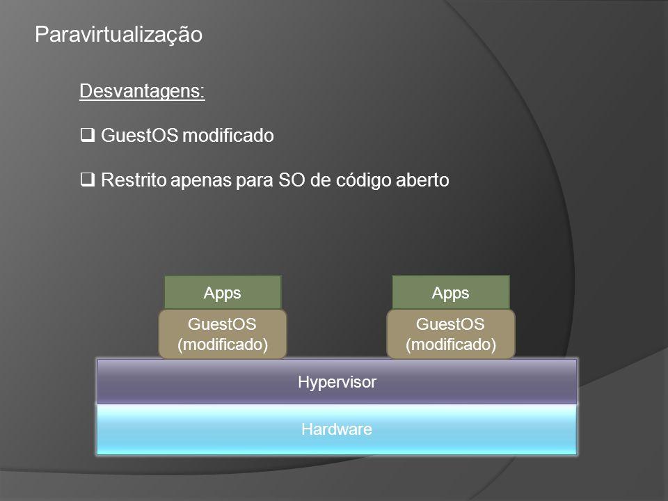 Paravirtualização Desvantagens: GuestOS modificado