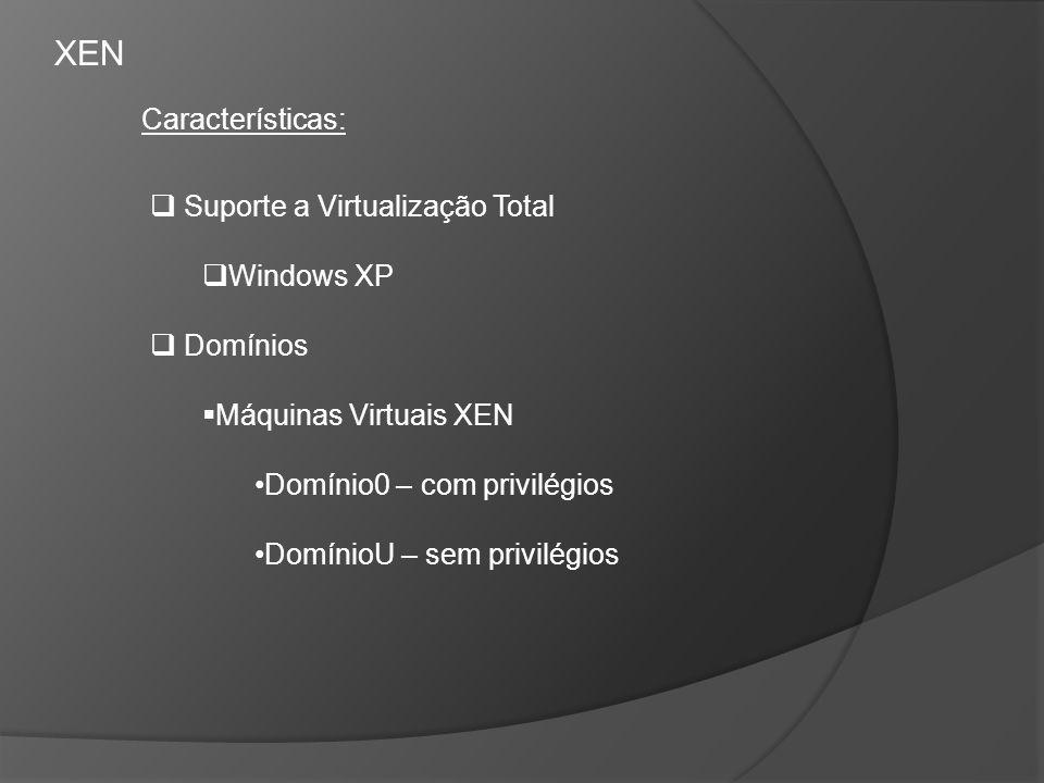 XEN Características: Suporte a Virtualização Total Windows XP Domínios