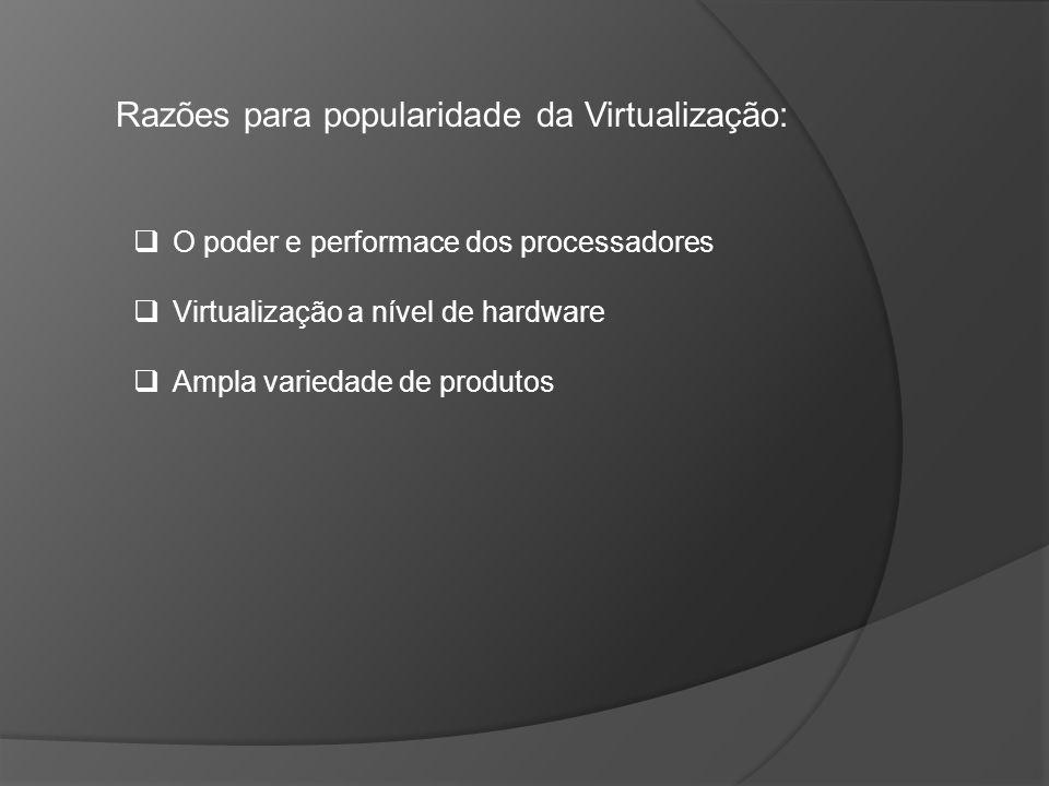 Razões para popularidade da Virtualização: