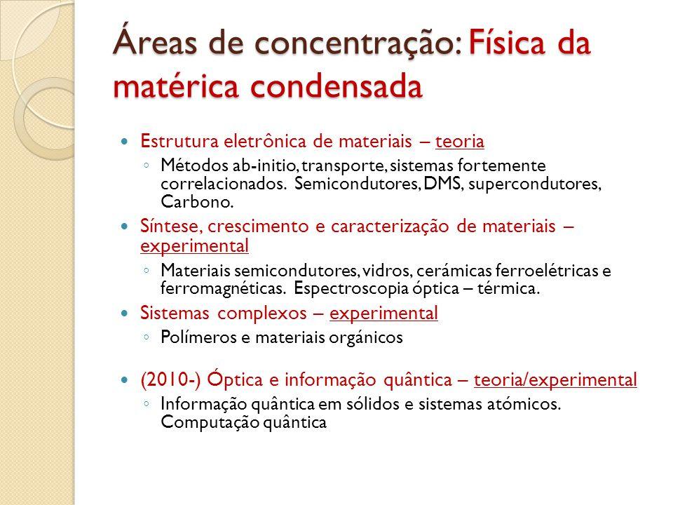 Áreas de concentração: Física da matérica condensada