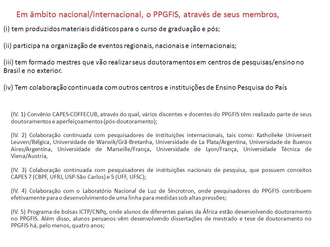 Em âmbito nacional/internacional, o PPGFIS, através de seus membros,
