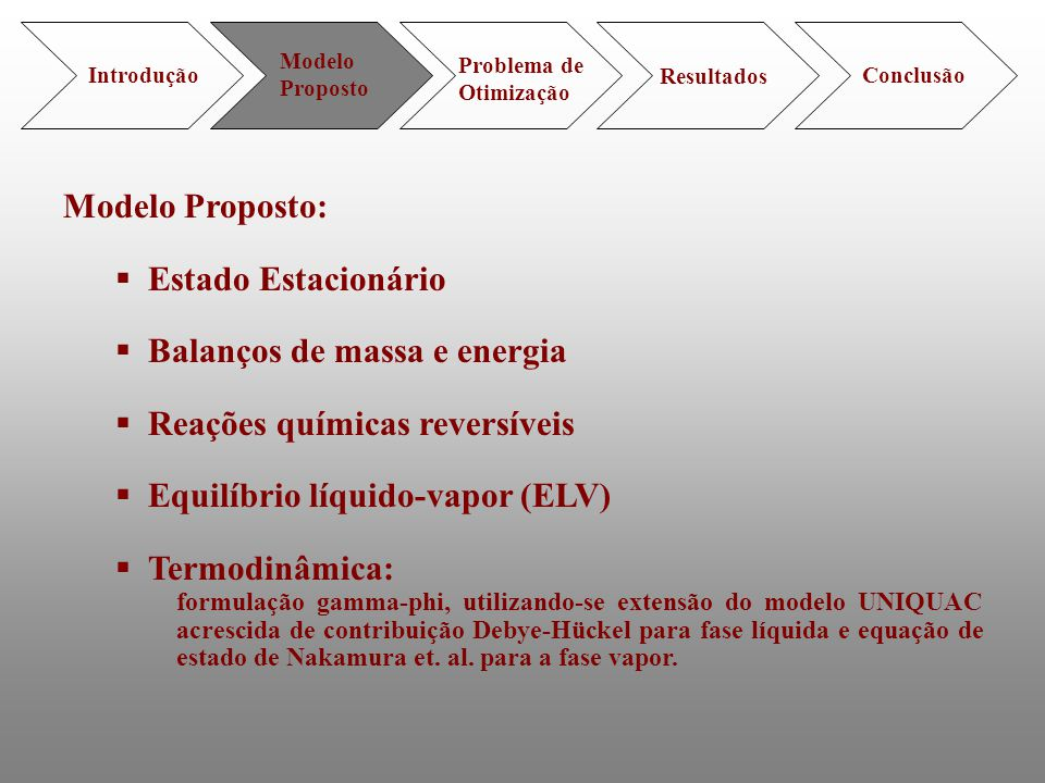 Balanços de massa e energia Reações químicas reversíveis