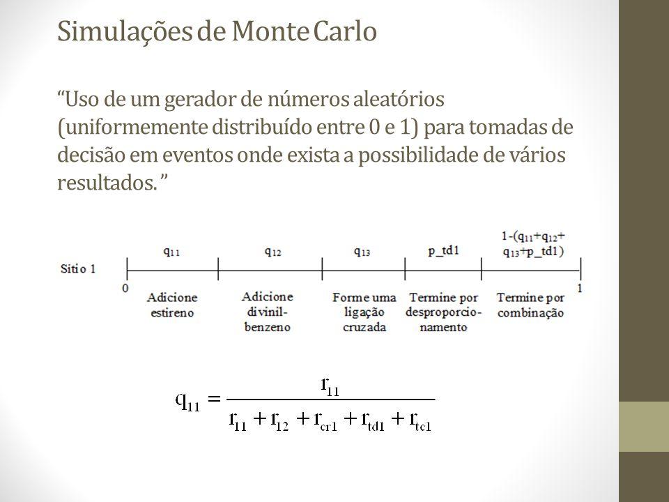 Simulações de Monte Carlo Uso de um gerador de números aleatórios (uniformemente distribuído entre 0 e 1) para tomadas de decisão em eventos onde exista a possibilidade de vários resultados.