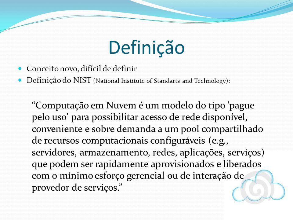 Definição Conceito novo, difícil de definir. Definição do NIST (National Institute of Standarts and Technology):
