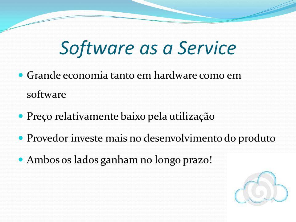 Software as a Service Grande economia tanto em hardware como em software. Preço relativamente baixo pela utilização.
