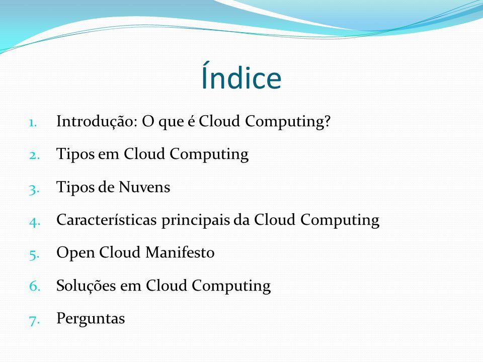 Índice Introdução: O que é Cloud Computing Tipos em Cloud Computing