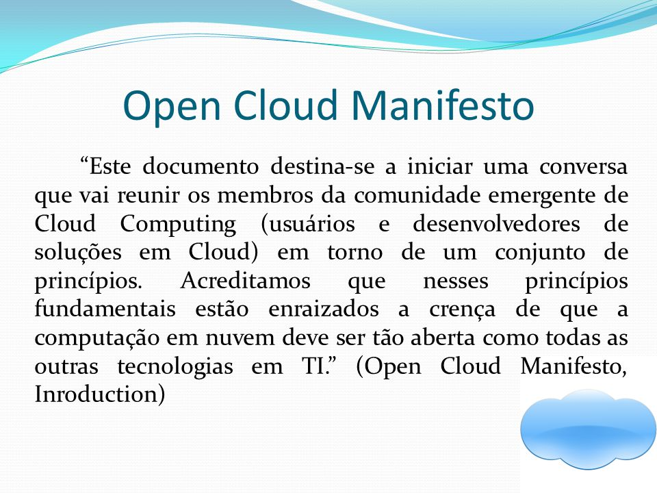 Open Cloud Manifesto