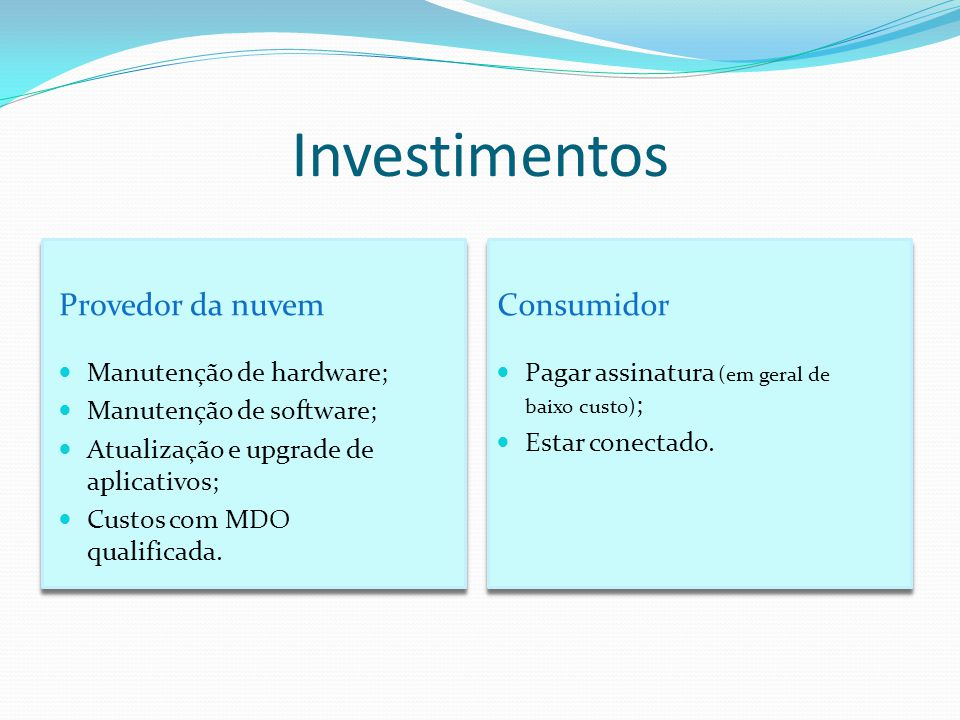 Investimentos Provedor da nuvem Consumidor Manutenção de hardware;