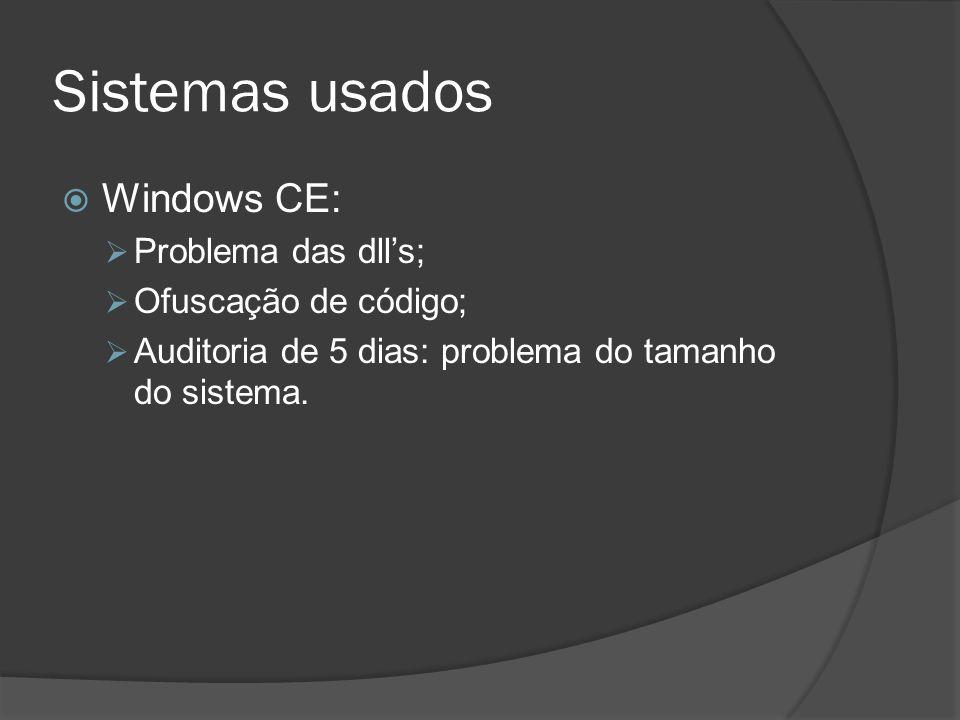 Sistemas usados Windows CE: Problema das dll's; Ofuscação de código;