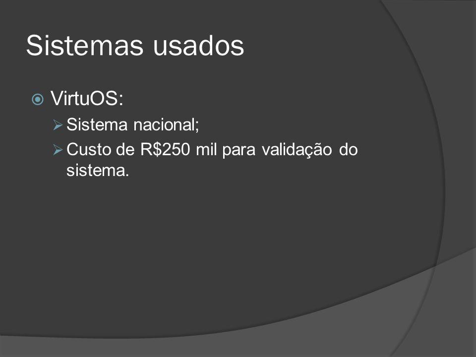 Sistemas usados VirtuOS: Sistema nacional;