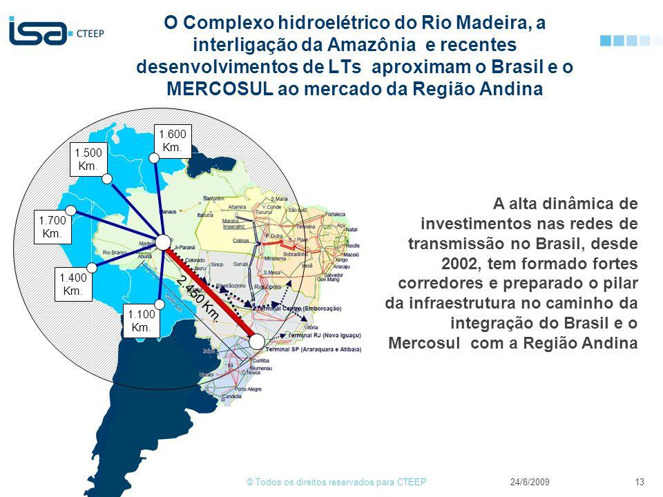 O Complexo hidroelétrico do Rio Madeira, a interligação da Amazônia e recentes desenvolvimentos de LTs aproximam o Brasil e o MERCOSUL ao mercado da Região Andina