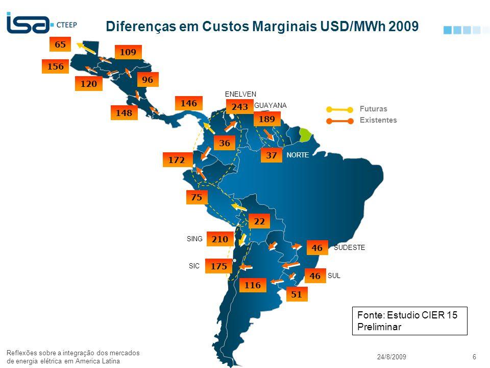 Diferenças em Custos Marginais USD/MWh 2009