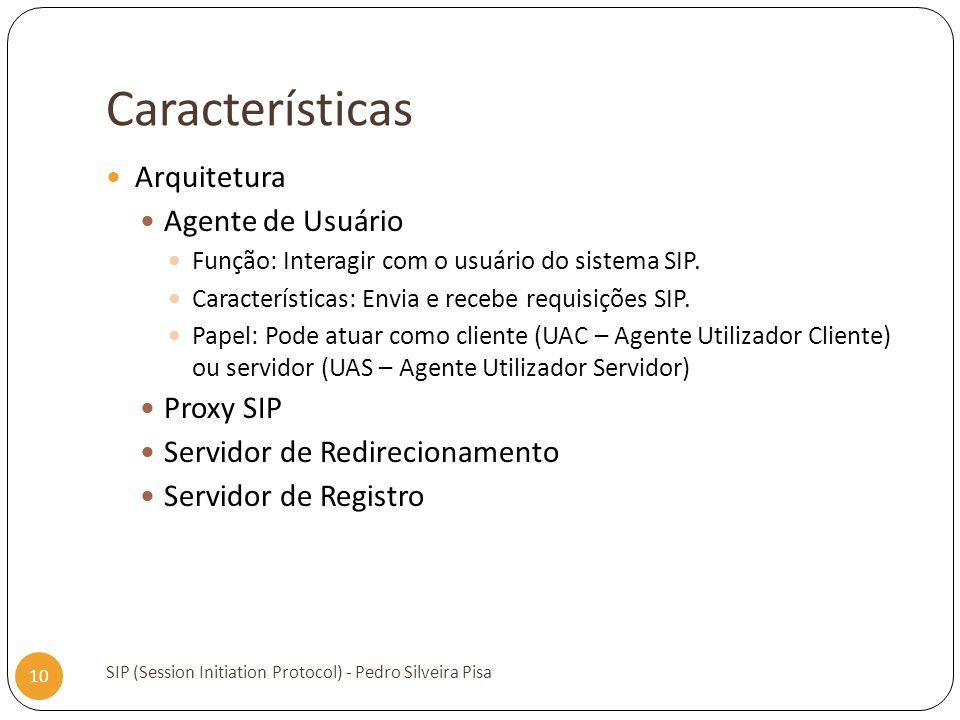Características Arquitetura Agente de Usuário Proxy SIP