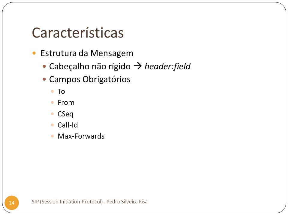 Características Estrutura da Mensagem