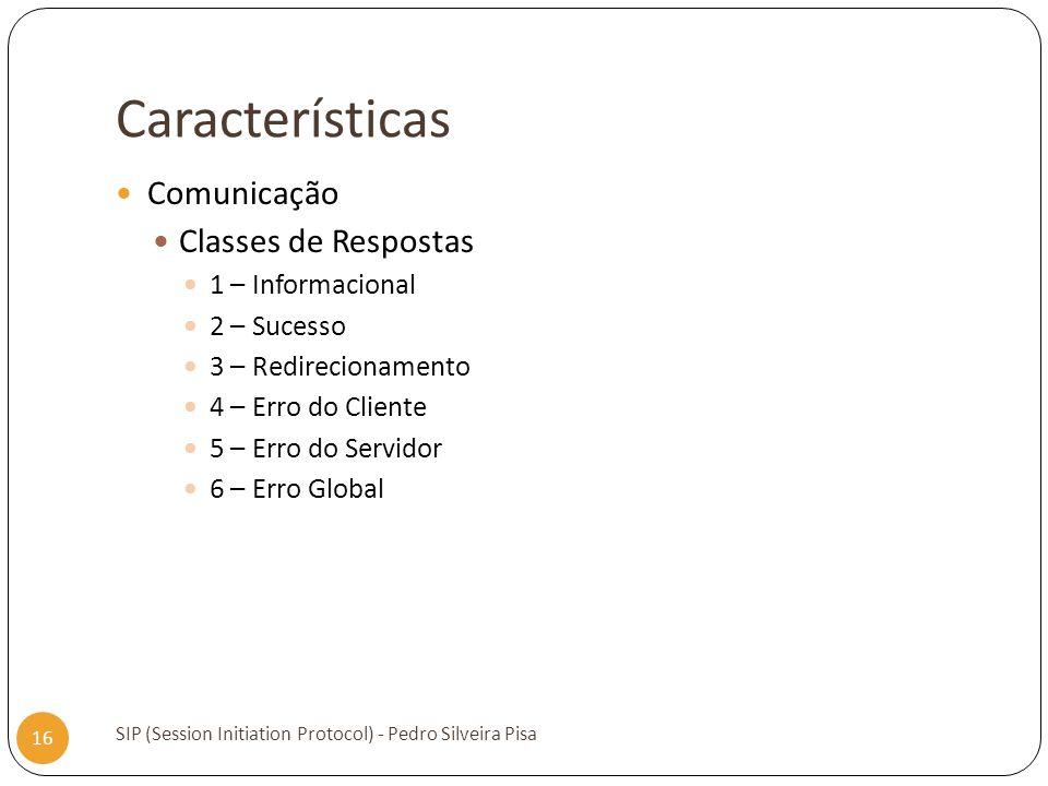 Características Comunicação Classes de Respostas 1 – Informacional