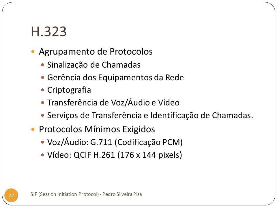 H.323 Agrupamento de Protocolos Protocolos Mínimos Exigidos