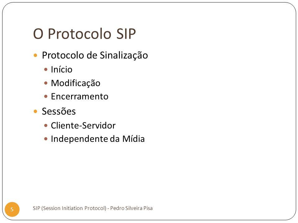 O Protocolo SIP Protocolo de Sinalização Sessões Início Modificação