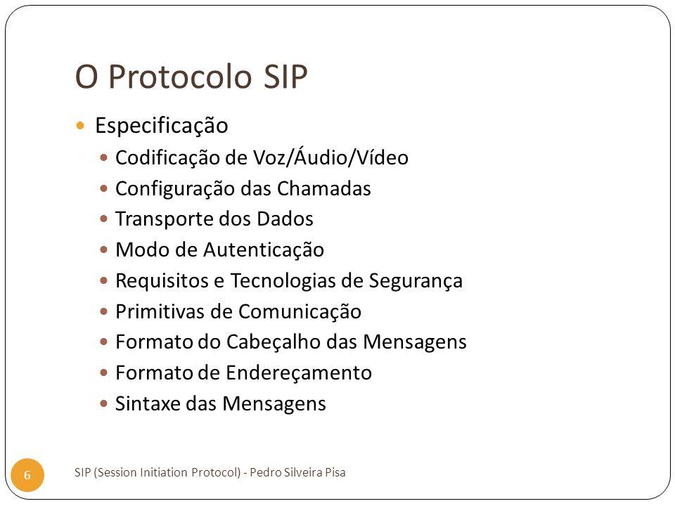 O Protocolo SIP Especificação Codificação de Voz/Áudio/Vídeo