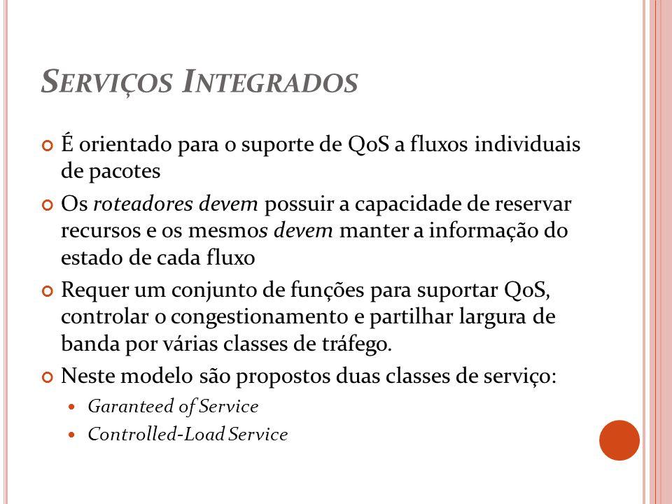 Serviços Integrados É orientado para o suporte de QoS a fluxos individuais de pacotes.