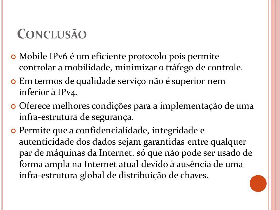 Conclusão Mobile IPv6 é um eficiente protocolo pois permite controlar a mobilidade, minimizar o tráfego de controle.
