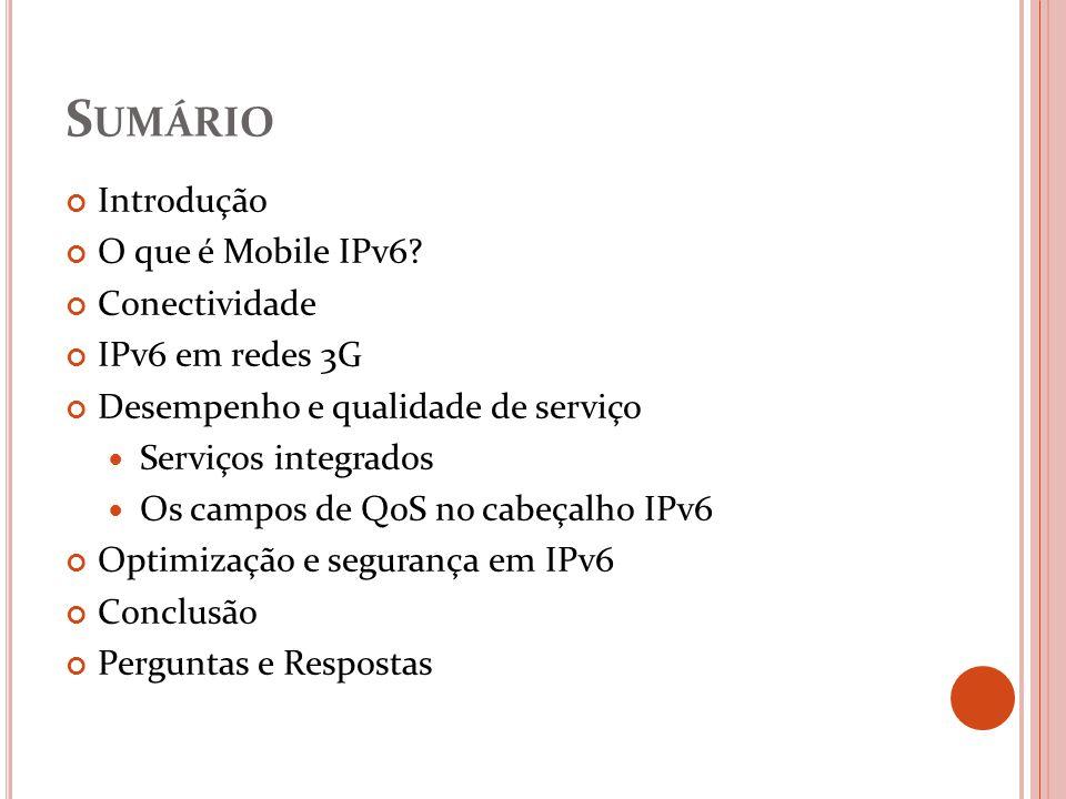 Sumário Introdução O que é Mobile IPv6 Conectividade IPv6 em redes 3G