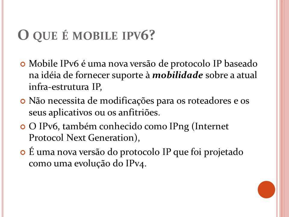 O que é mobile ipv6