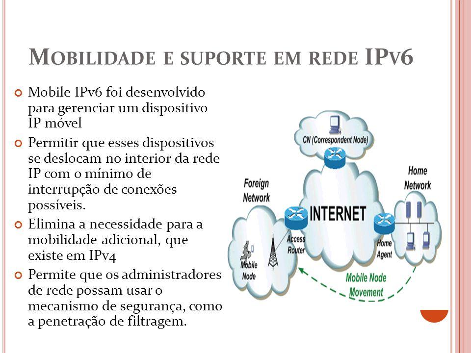 Mobilidade e suporte em rede IPv6