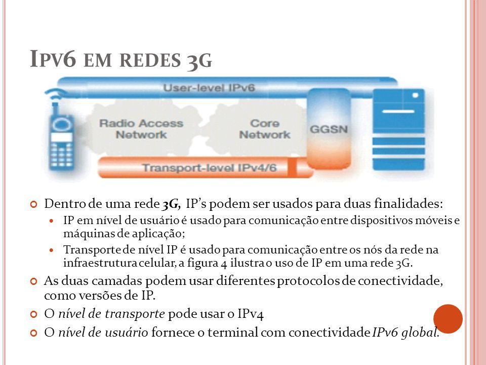 Ipv6 em redes 3g Dentro de uma rede 3G, IP's podem ser usados para duas finalidades: