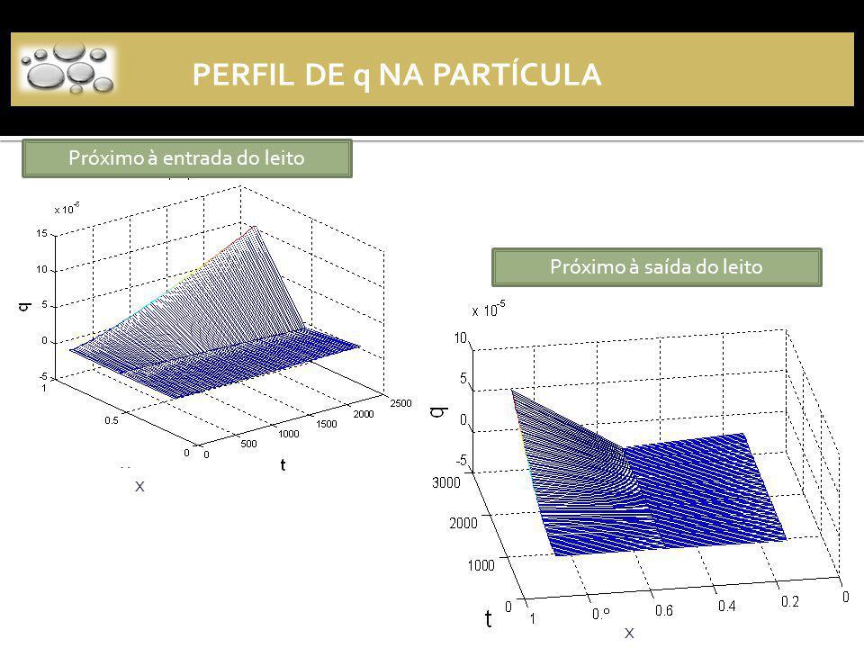 Perfil de q na partícula
