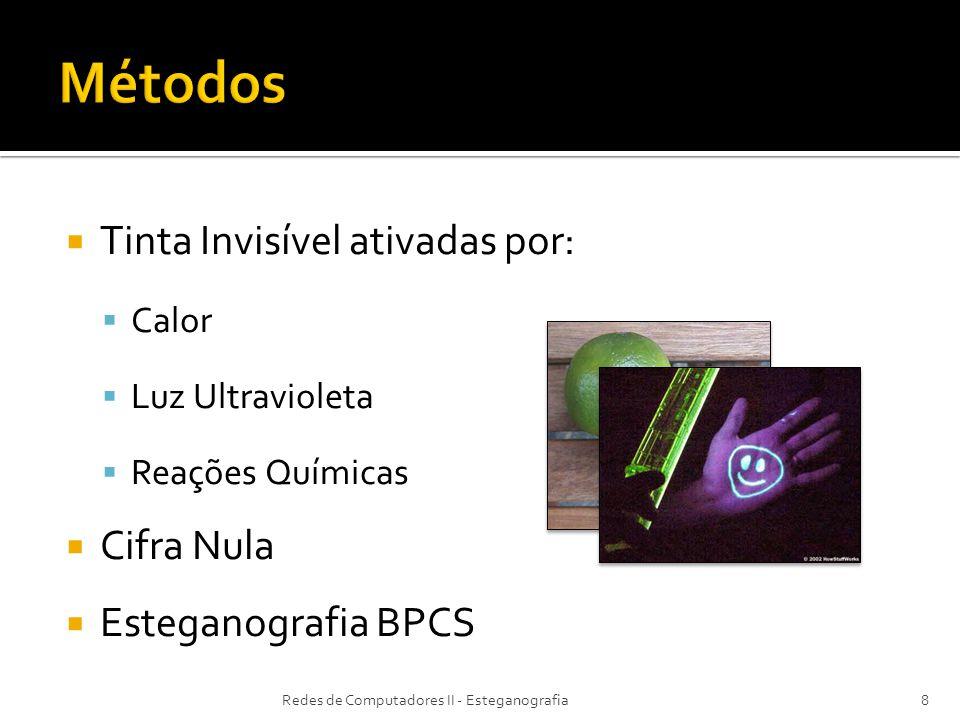 Métodos Tinta Invisível ativadas por: Cifra Nula Esteganografia BPCS