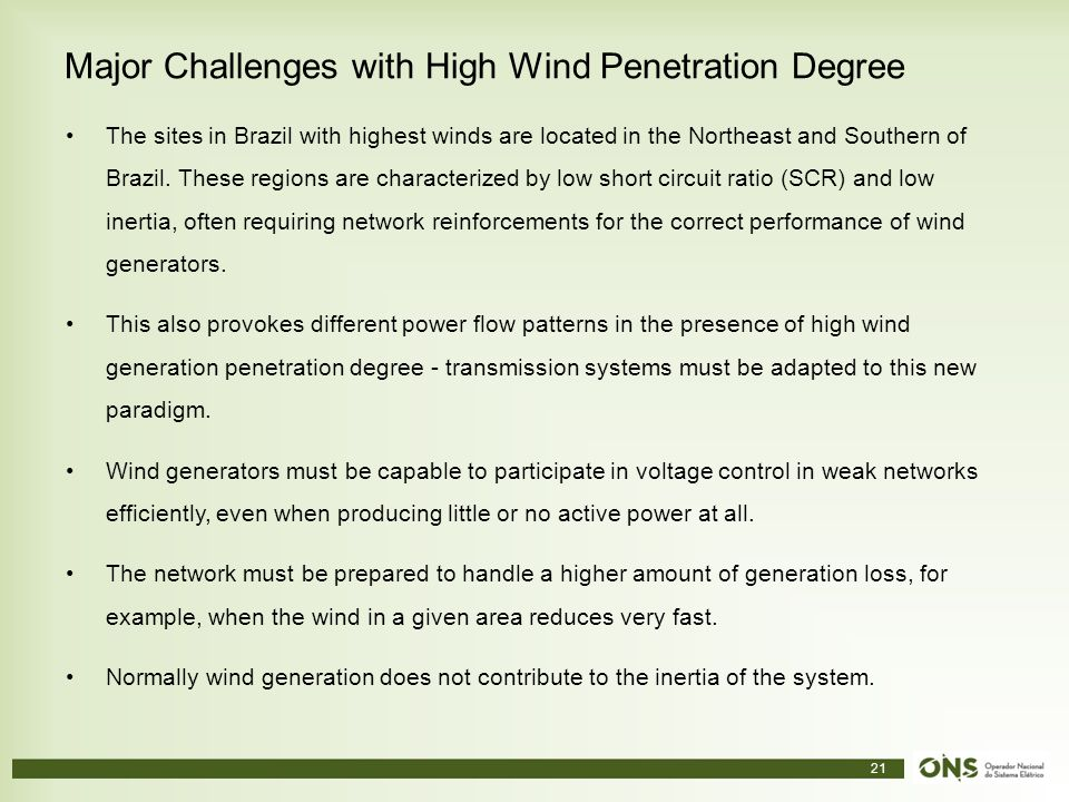Major Challenges with High Wind Penetration Degree