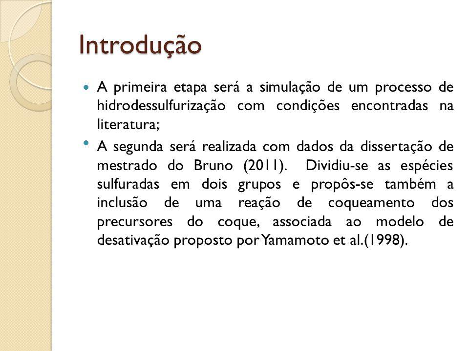 Introdução A primeira etapa será a simulação de um processo de hidrodessulfurização com condições encontradas na literatura;