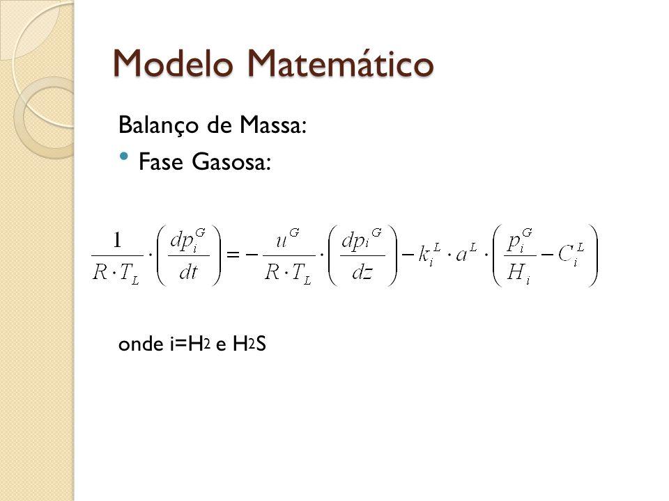 Modelo Matemático Balanço de Massa: Fase Gasosa: onde i=H2 e H2S