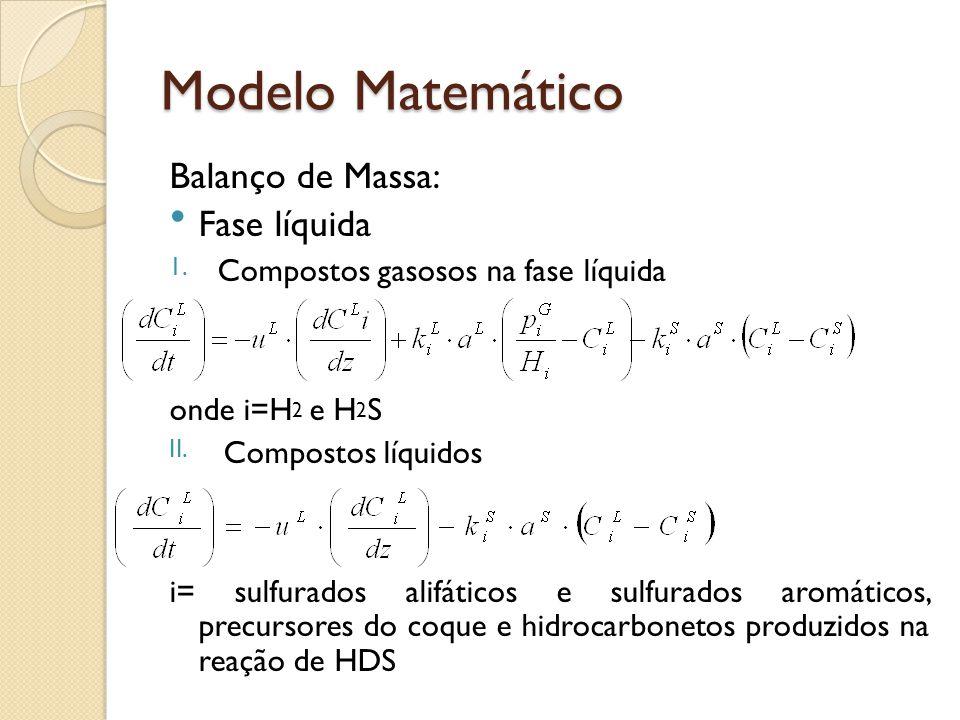 Modelo Matemático Balanço de Massa: Fase líquida