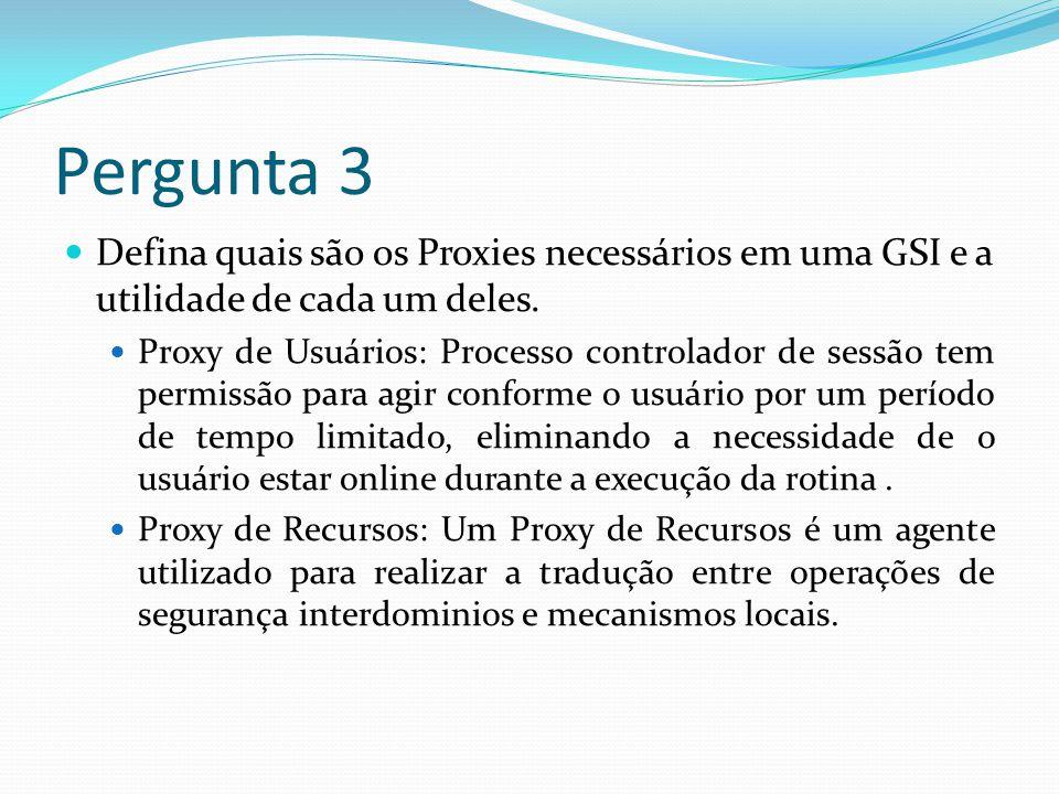 Pergunta 3 Defina quais são os Proxies necessários em uma GSI e a utilidade de cada um deles.