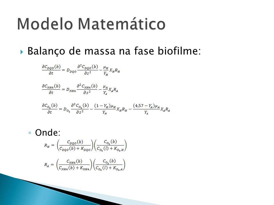 Modelo Matemático Balanço de massa na fase biofilme: Onde: