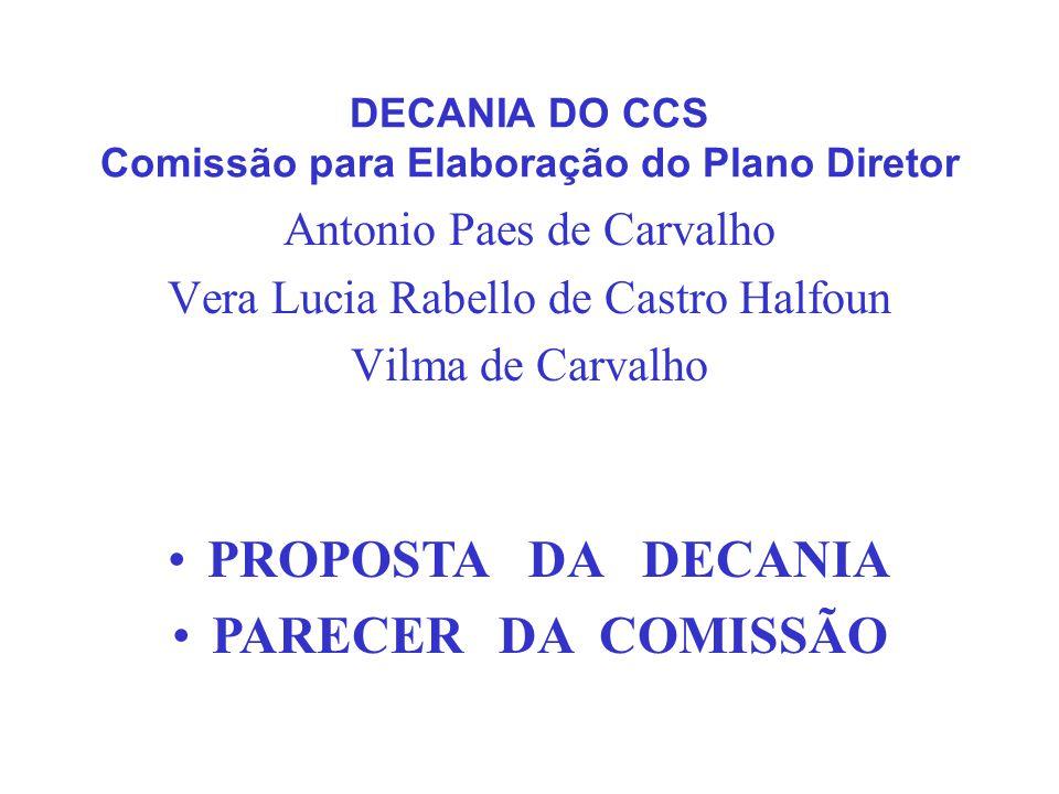 DECANIA DO CCS Comissão para Elaboração do Plano Diretor