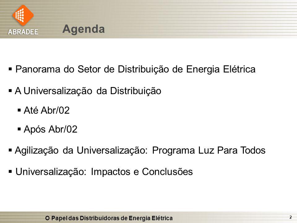 Agenda Panorama do Setor de Distribuição de Energia Elétrica