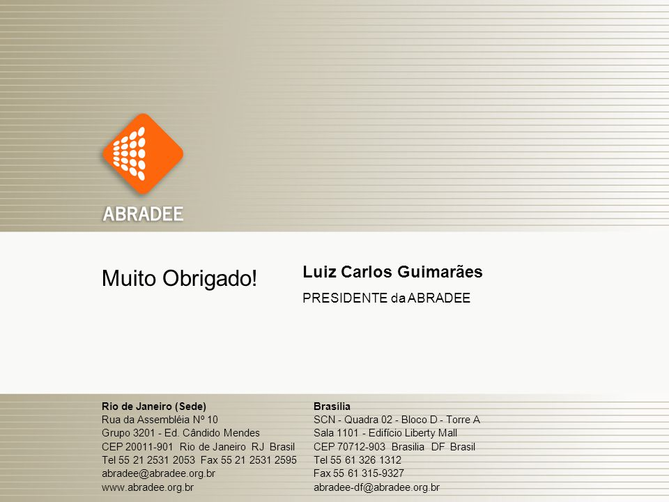 Muito Obrigado! Luiz Carlos Guimarães PRESIDENTE da ABRADEE