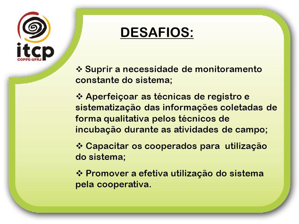 DESAFIOS: Suprir a necessidade de monitoramento constante do sistema;