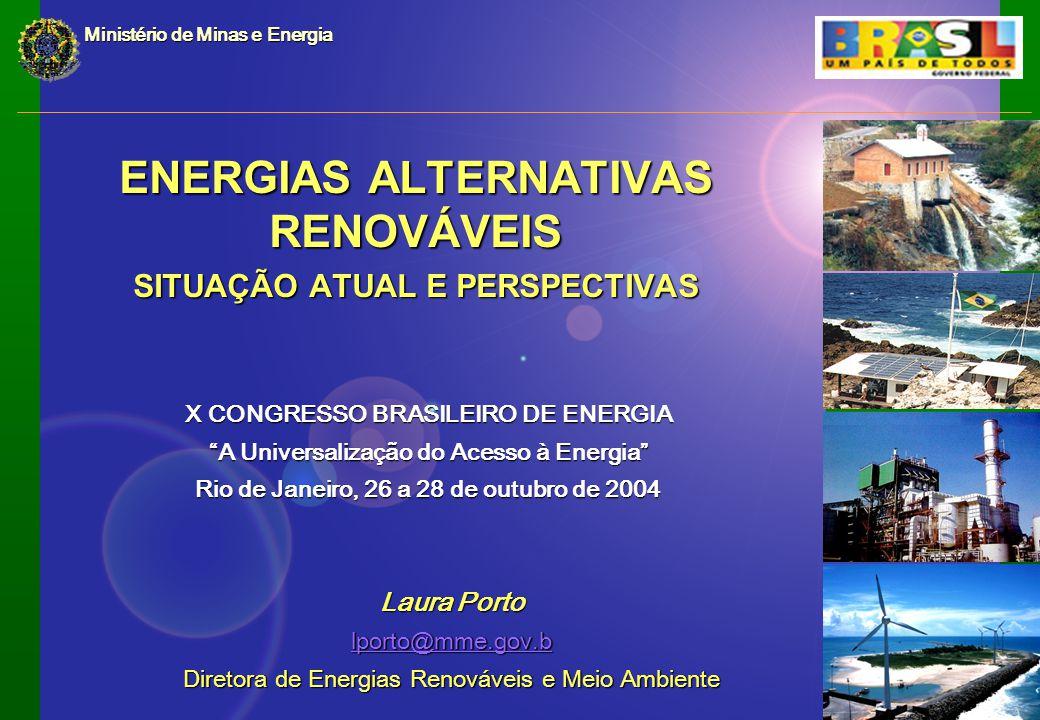 ENERGIAS ALTERNATIVAS RENOVÁVEIS SITUAÇÃO ATUAL E PERSPECTIVAS