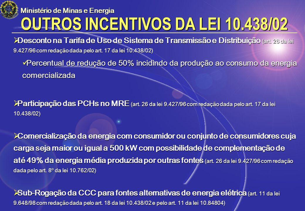 OUTROS INCENTIVOS DA LEI 10.438/02