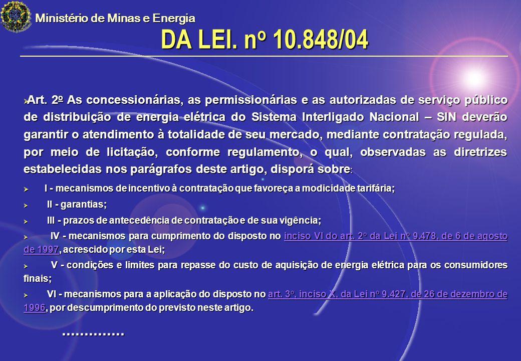 DA LEI. no 10.848/04 .............. Ministério de Minas e Energia