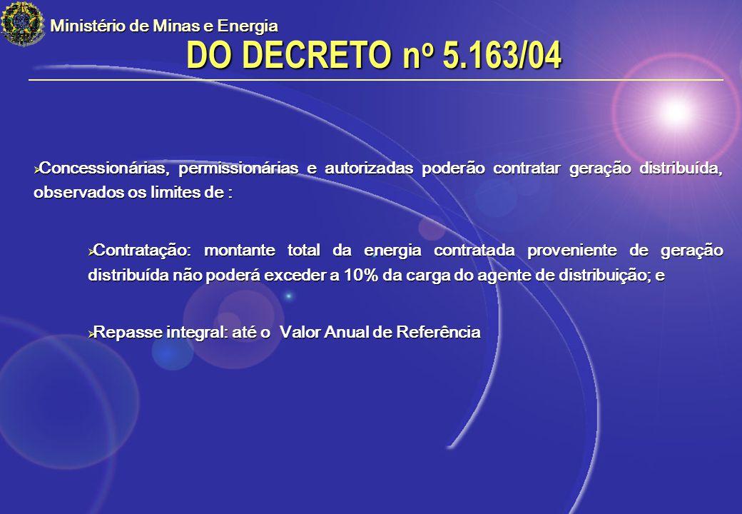 DO DECRETO no 5.163/04 Ministério de Minas e Energia