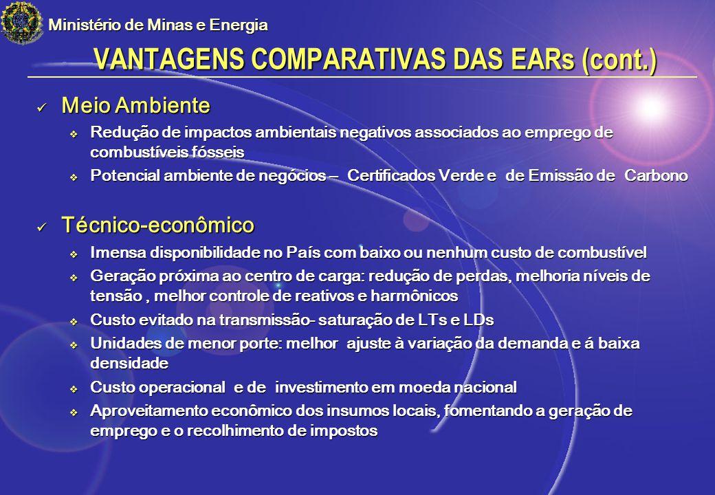 VANTAGENS COMPARATIVAS DAS EARs (cont.)